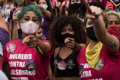 Mulheres no ato Justiça por Mari Ferrer no Rio de Janeiro. Foto: Bárbara Dias/Fotoguerrilha