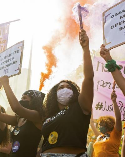 Mulheres no ato Justiça por Mari Ferrer em São Paulo. Foto: Isabela Naiara/Fotoguerrilha